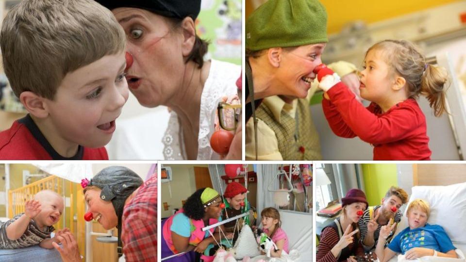 SkiMaquis wintersportdeluxe ontdekcorsica Cliniclown collage kinderen clowns ziekenhuis rode neuzen logo